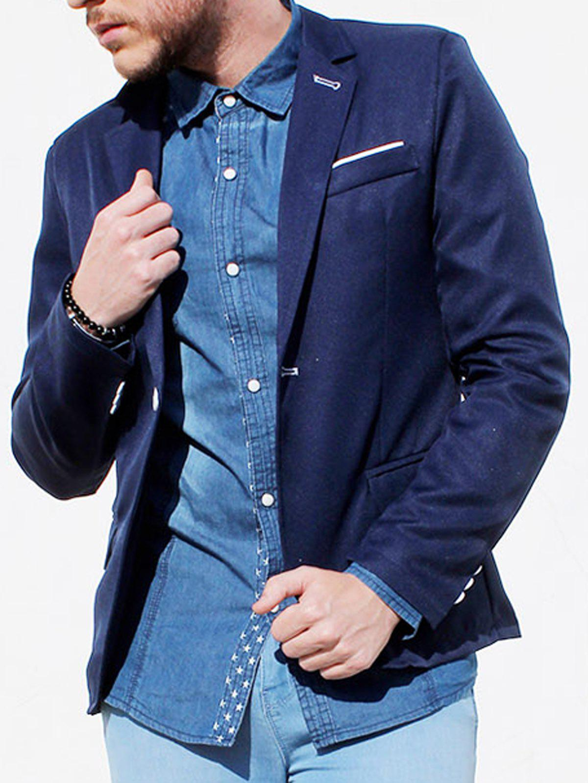 Affordable Trendy Lapel One Button Sutures Design Slimming Long Sleeve Polyester Blazer For Men