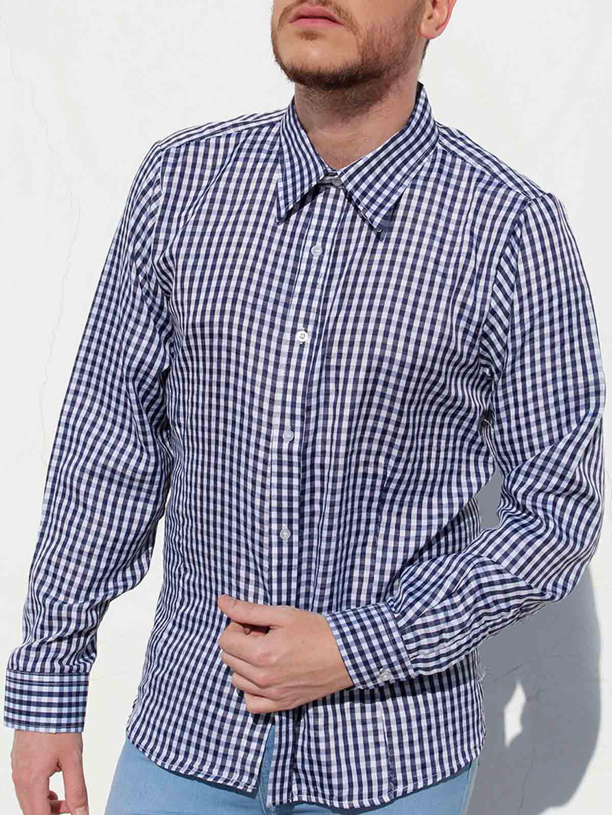 Hot Casual Turn-Down Collar Pliad Print Slimming Long Sleeve Men's Shirt