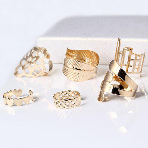 A Suit of Vintage Geometric Leaf Cuff RingsJEWELRY<br><br>Size: ONE-SIZE; Color: GOLDEN; Gender: For Women; Metal Type: Copper Alloy; Style: Trendy; Shape/Pattern: Geometric; Weight: 0.070kg; Package Contents: 1 x Ring (Suit);