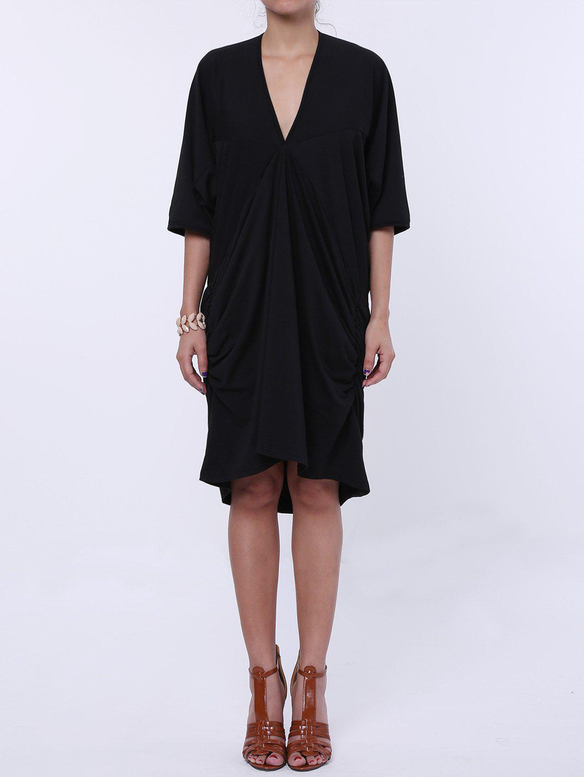Store Maxi Plunge Neck Batwing Sleeve Casual Dress