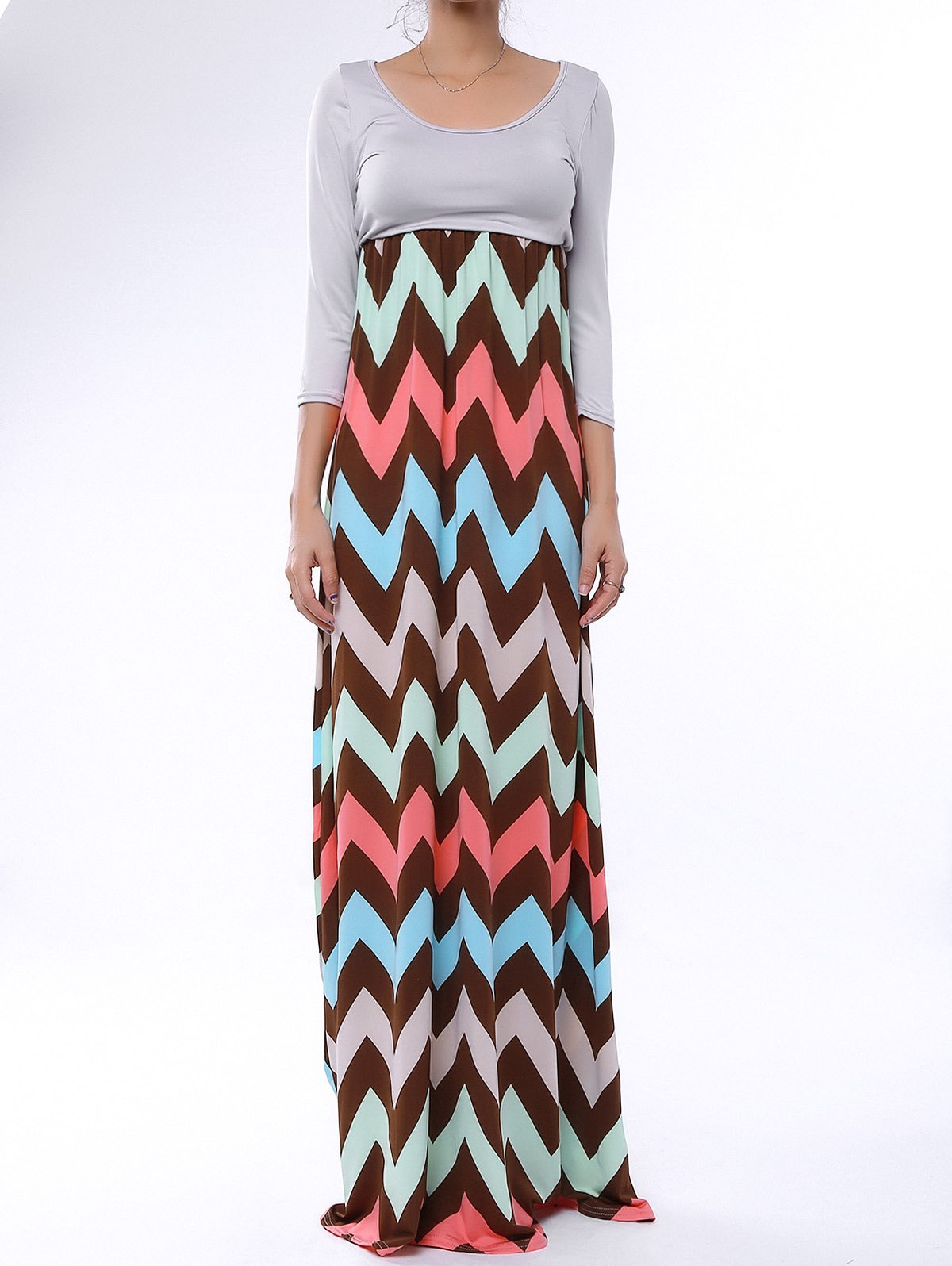 Sale Bohemian Scoop Collar Zig Zag Maxi Dress