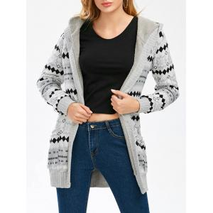 Hooded Button Up Geometric Cardigan - Gray - L