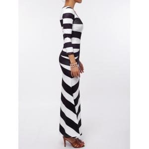 Maxi Scoop Neck Striped Evening Dress -