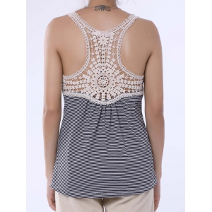 Stylish Scoop Neck Lace Splicing Striped Embroidery Tank Top For Women - GRAY S