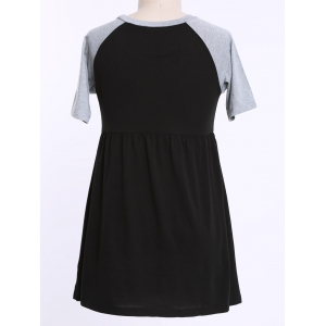 Casual Raglan Sleeve Color Block Plus Size T Shirt Dress - Black - 3xl