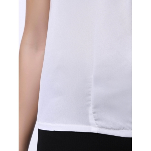 Brief Scoop Neck White Sleeveless Chiffon Blouse For Women -