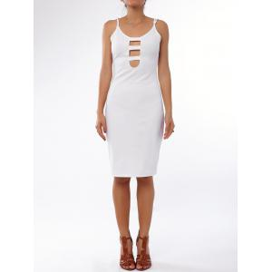 Sexy White Low Cut Spaghetti Strap Hollow Out Bodycon Dress For Women - White - L