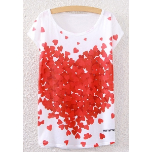 Hearts Print Scoop Neck T-Shirt - White - One Size(fit Size Xs To M)