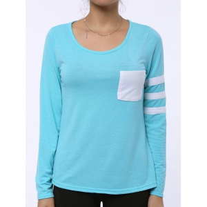 Charming Scoop Neck Color Block Striped Sleeve T-Shirt For Women