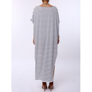 Asymmetric Maxi Striped Casual Slit Dress - WHITE AND BLACK M