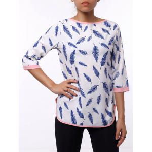 Casual Leaf Printed 3/4 Sleeve Cut Out Blouse For Women