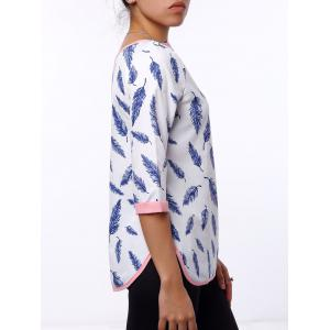 Casual Leaf Printed 3/4 Sleeve Cut Out Blouse For Women - WHITE S