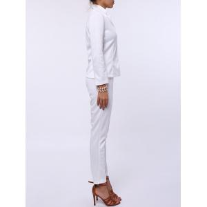 Stylish Lapel Long Sleeve Solid Color Blazer + Skinny Pants Women's Twinset - WHITE S