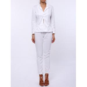 Stylish Lapel Long Sleeve Solid Color Blazer + Skinny Pants Women's Twinset - White - Xl
