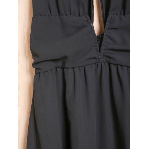 Sexy Plunging Neckline Sleeveless Open Back A-Line Chiffon Dress For Women - BLACK S