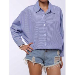 Chic Shirt Collar Long Sleeve Striped Plus Size Women's Shirt