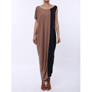 Color Block Short Sleeve T-shirt Maxi Dress - Coffee And Black - S