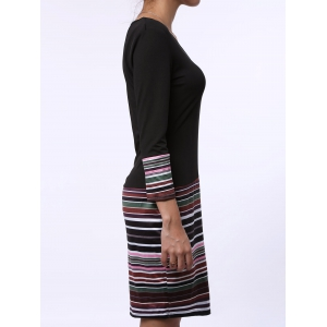 V-Neck Striped Long Sleeve Dress - BLACK S