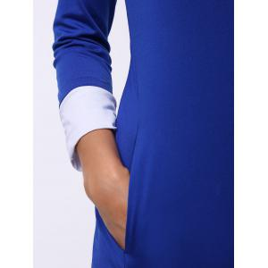 Casual Scoop Neck Color Block Long Sleeve Mini Dress For Women - SAPPHIRE BLUE S