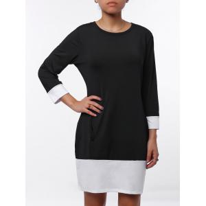 Casual Scoop Neck Color Block Long Sleeve Mini Dress For Women - Black - M