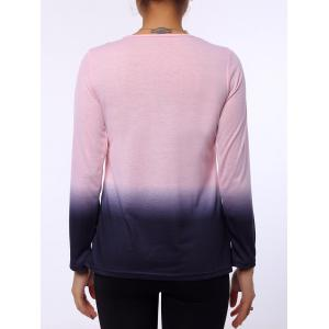 Stylish Round Neck Long Sleeve Ombre Color Women's T-Shirt - PINK S