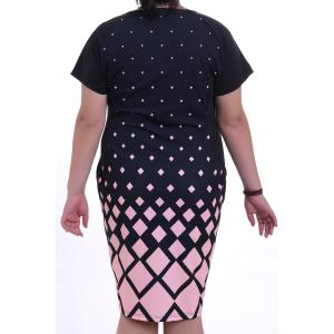Graceful Round Collar Short Sleeve Argyle Pattern Plus Size Midi Dress For Women - PINK L