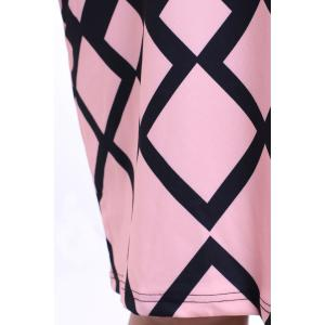 Graceful Round Collar Short Sleeve Argyle Pattern Plus Size Midi Dress For Women -