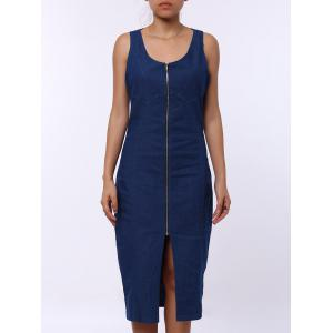Sleeveless Zip Up Bodycon Denim Midi Dress - Blue - M