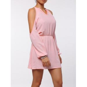 Cold Shoulder Long Sleeve Races Chiffon Dress - PINK XL