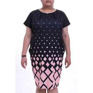 Graceful Round Collar Short Sleeve Argyle Pattern Plus Size Midi Dress For Women