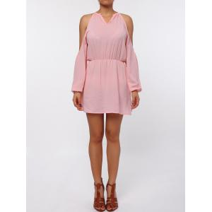 Cold Shoulder Long Sleeve Races Chiffon Dress - Pink - Xl