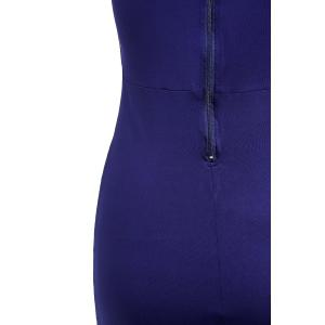 Chic Plunging Neck Sleeveless Zipper Design Solid Color Skinny Women's Dress -