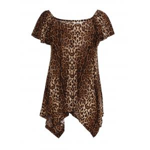 Chic Square Neck Leopard Print Asymmetrical Women's T-Shirt -