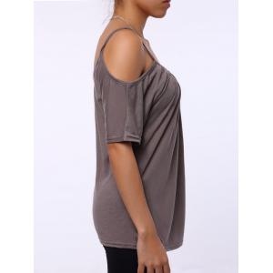 Simple Scoop Neck Short Sleeve Off-The-Shoulder Solid Color Women's T-Shirt - KHAKI M