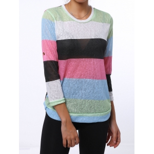 Trendy Scoop Neck 3/4 Sleeve Striped Colored Women's T-Shirt - GREEN M