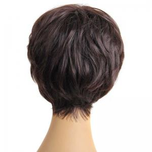 Stylish Fluffy Neat Bang Charming Short Wavy Synthetic Capless Wig For Women -