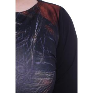 Stylish Round Collar 3/4 Sleeve Face Print Plus Size Dress For Women -