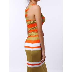 U-Neck Striped Sleeveless Striped Dress - COLORMIX M