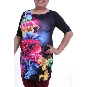 Elegant Round Collar 3/4 Sleeve Colorful Floral Print Plus Size Dress For Women -