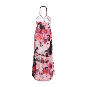 Fashionable Halter Sleeveless Printed Pleated Women's Dress -