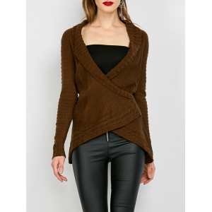 Chic Turn-Down Neck Long Sleeve Asymmetrical Women's Sweater - Dark Khaki - M