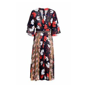 Fashionable V-Neck 3/4 Sleeve Floral Print Spliced Women's Dress -