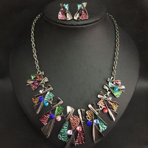Statement X-Shaped Pendant Necklace and Earrings