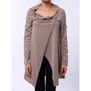 Elegant Cowl Neck Solid Color Slit Asymmetric Pullover Sweater For Women - Apricot - One Size(fit Size Xs To M)