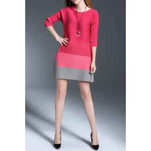 Mini A Line Color Block Dress -