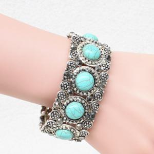 Round Faux Turquoise Carving Bracelet - SILVER