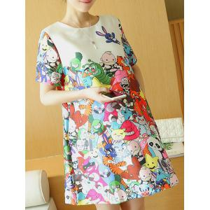 Sweet Round Neck Cartoon Print Short Sleeve Dress For Women -