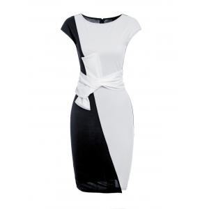 Short Sleeve Bowknot Bodycon Dress - White And Black - 3xl