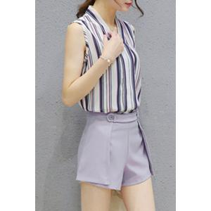 Fashionable V Neck Sleeveless Striped Top + Solid Color Shorts Twinset For Women -