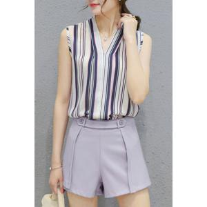 Fashionable V Neck Sleeveless Striped Top + Solid Color Shorts Twinset For Women - BLUE GRAY L